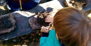 joaca de-a mâncarea cu lut și apă pe o farfurie din coajă de copac